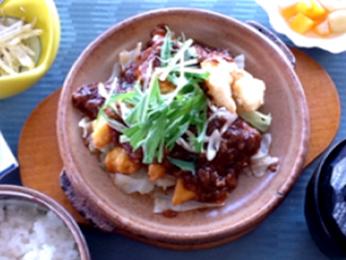 鶏天と海老天のピリ辛味噌定食