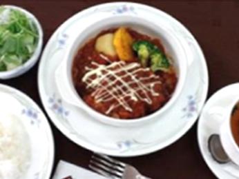 阿知須牛ハンバーグトマト煮込みポルチーニ風